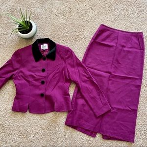 Le Suit Sz 6P purple jacket blazer Skirt Suit